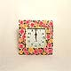 Square Garden Roses wall clock