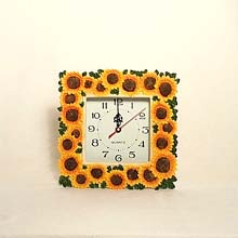 Square Sunflower wall clock