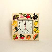 Square Fruits wall clock